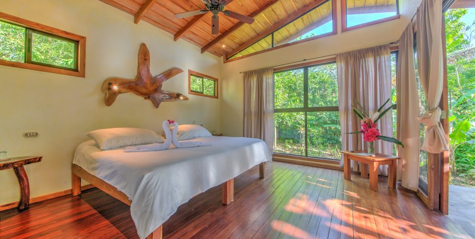 Mystica Lodge and retreats has different rooms styles. This is one of the jungle cabins. This jungle Cabin can be set up with two single beds and one King size bed. They come with an outdoor shower and have a private deck with jungle view.