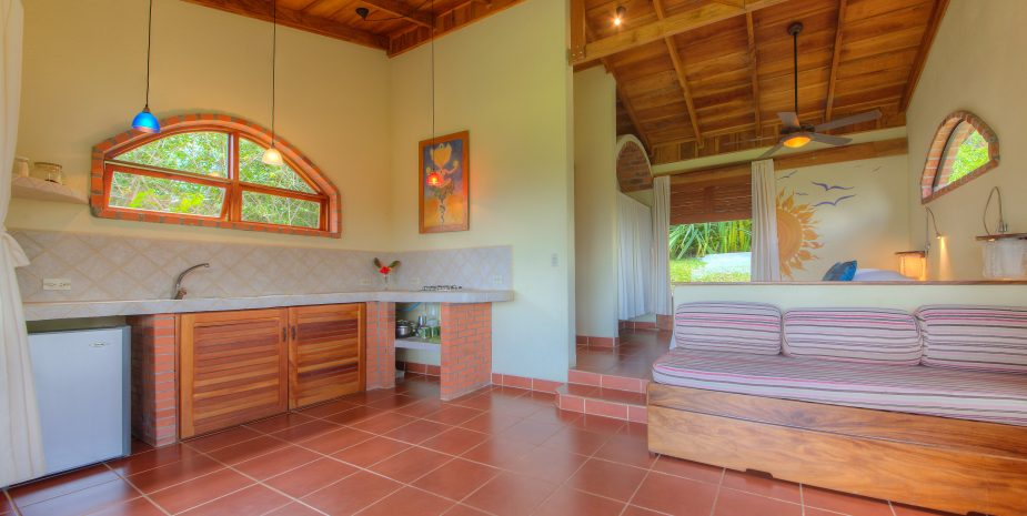 Sitting area and kitchen of the Private Villa