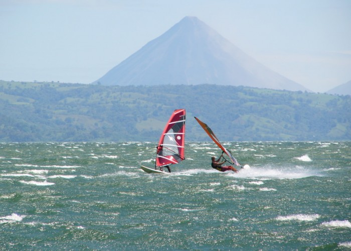 Wind and Kite Surfing near Arenal Volcano Costa Rica